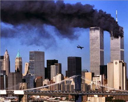 Flight 175 just moments before crashing into the WTC tower