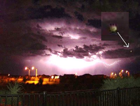 UFO in thunderstorm - Photo supplied by kind permission from Christine Dickey